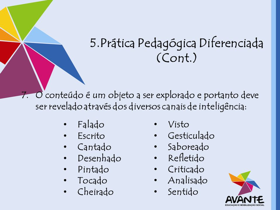 5.Prática Pedagógica Diferenciada (Cont.)
