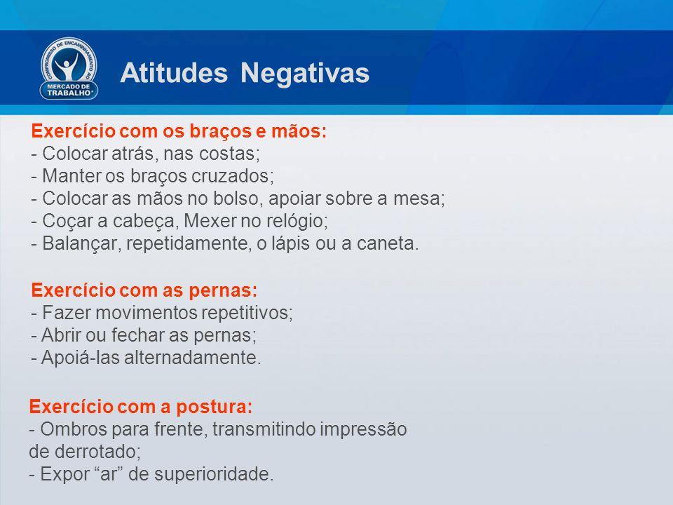 Atitudes Negativas Exercício com os braços e mãos: