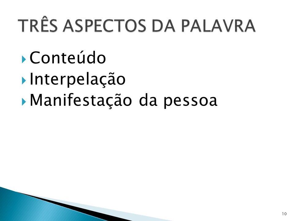 TRÊS ASPECTOS DA PALAVRA