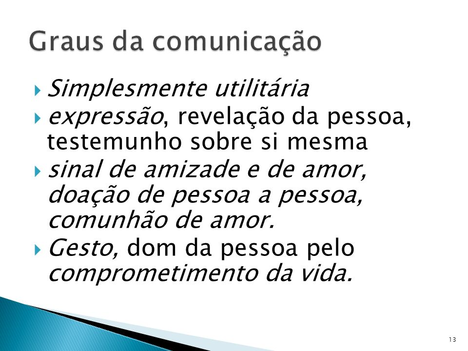 Graus da comunicação Simplesmente utilitária
