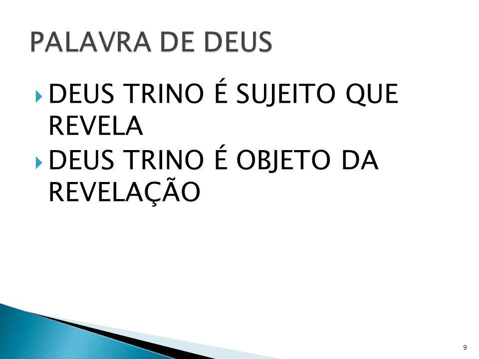 PALAVRA DE DEUS DEUS TRINO É SUJEITO QUE REVELA