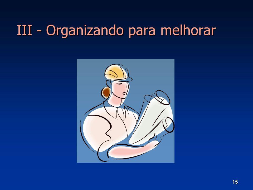 III - Organizando para melhorar
