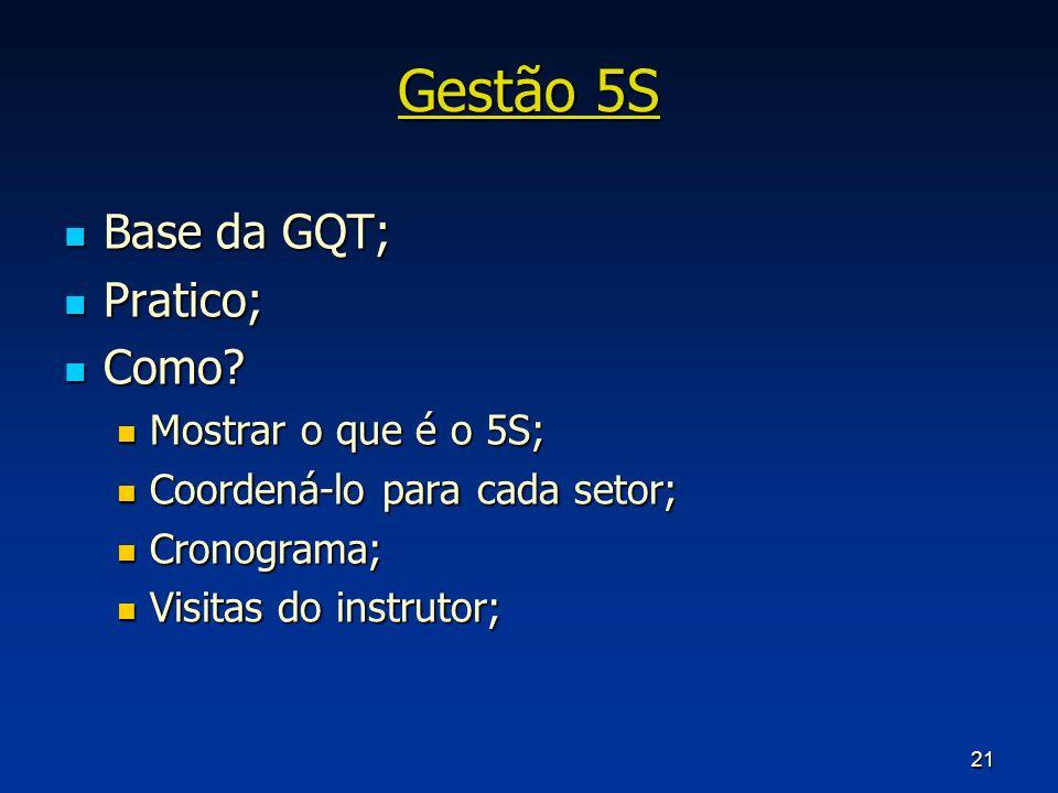 Gestão 5S Base da GQT; Pratico; Como Mostrar o que é o 5S;