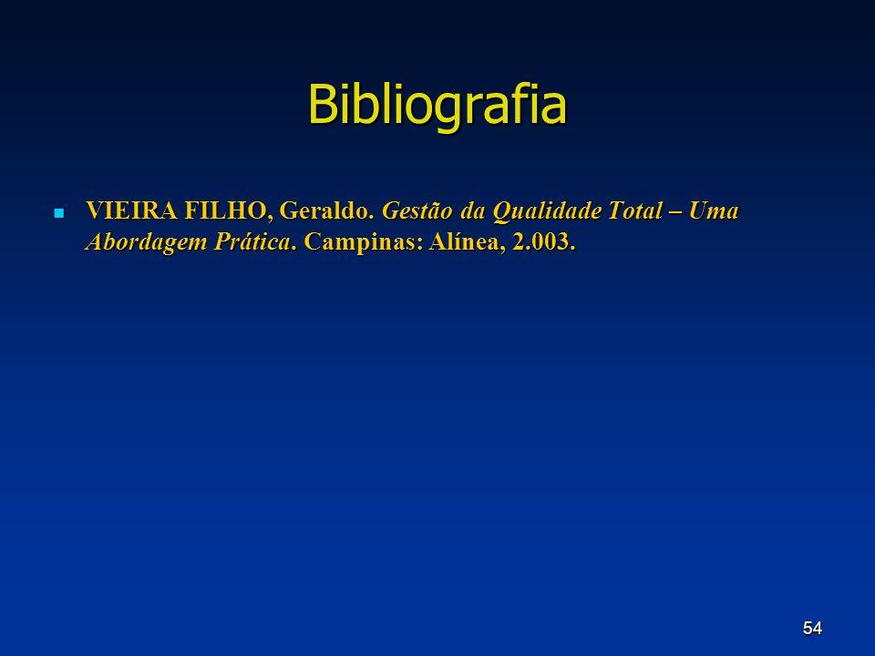 Bibliografia VIEIRA FILHO, Geraldo. Gestão da Qualidade Total – Uma Abordagem Prática.