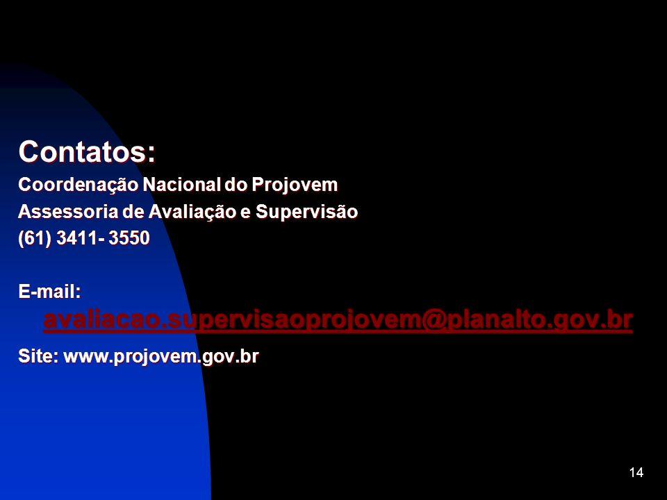 Contatos: Coordenação Nacional do Projovem