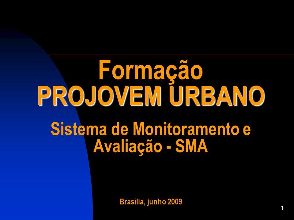 Formação PROJOVEM URBANO Sistema de Monitoramento e Avaliação - SMA Brasília, junho 2009