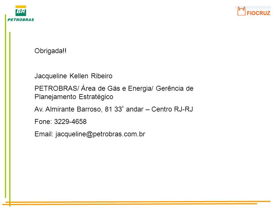 Obrigada!!Jacqueline Kellen Ribeiro. PETROBRAS/ Área de Gás e Energia/ Gerência de Planejamento Estratégico.