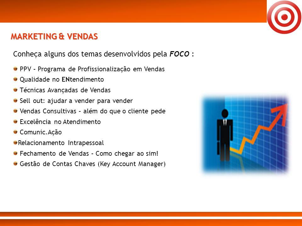 MARKETING & VENDAS Conheça alguns dos temas desenvolvidos pela FOCO :