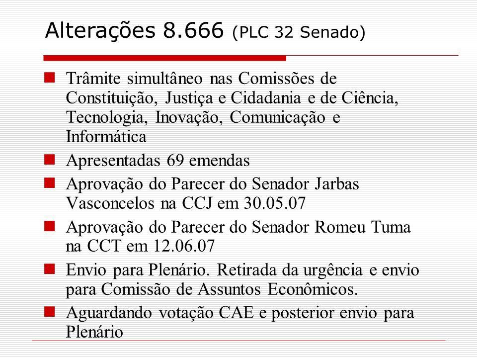 Alterações 8.666 (PLC 32 Senado)