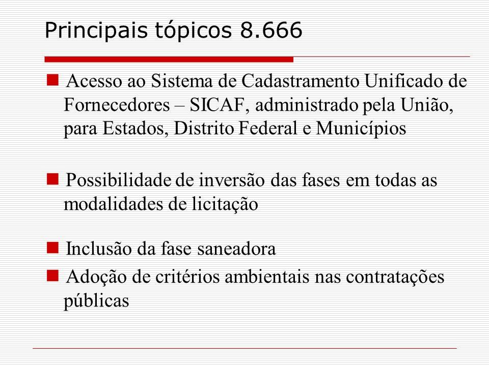 Principais tópicos 8.666