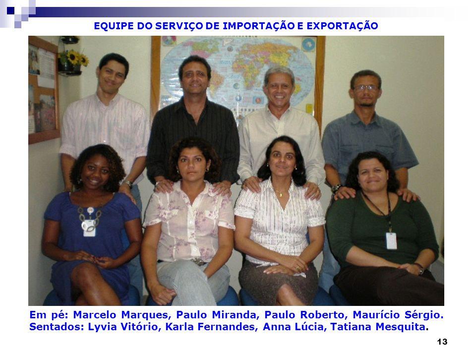 EQUIPE DO SERVIÇO DE IMPORTAÇÃO E EXPORTAÇÃO