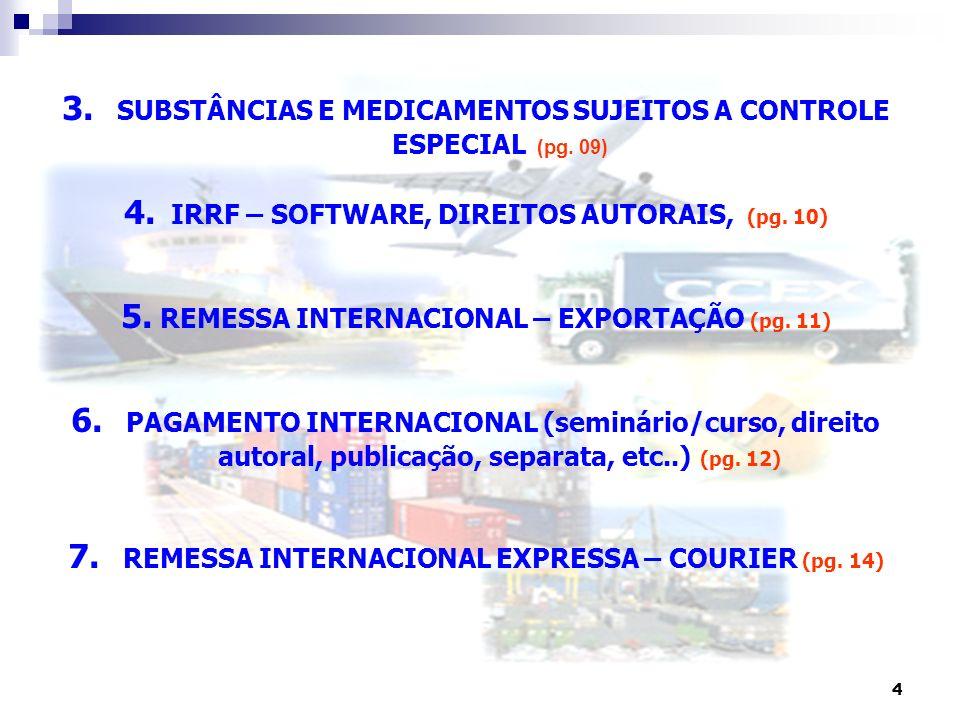 3. SUBSTÂNCIAS E MEDICAMENTOS SUJEITOS A CONTROLE ESPECIAL (pg. 09)