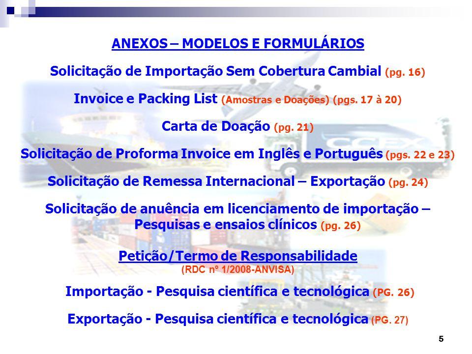 ANEXOS – MODELOS E FORMULÁRIOS