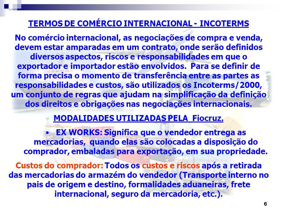 TERMOS DE COMÉRCIO INTERNACIONAL - INCOTERMS