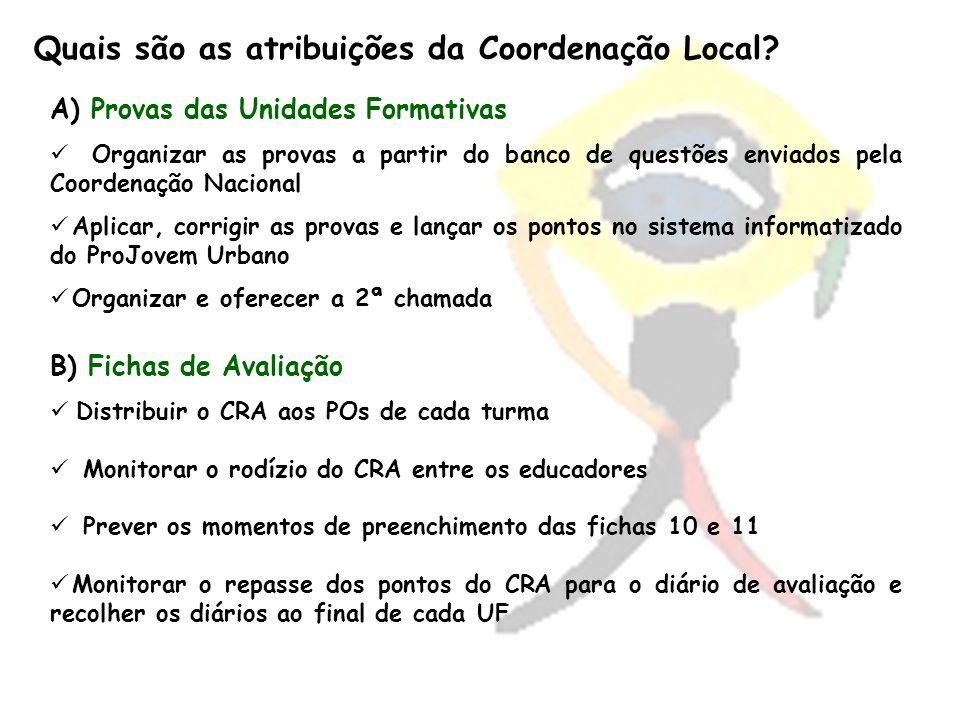 Quais são as atribuições da Coordenação Local