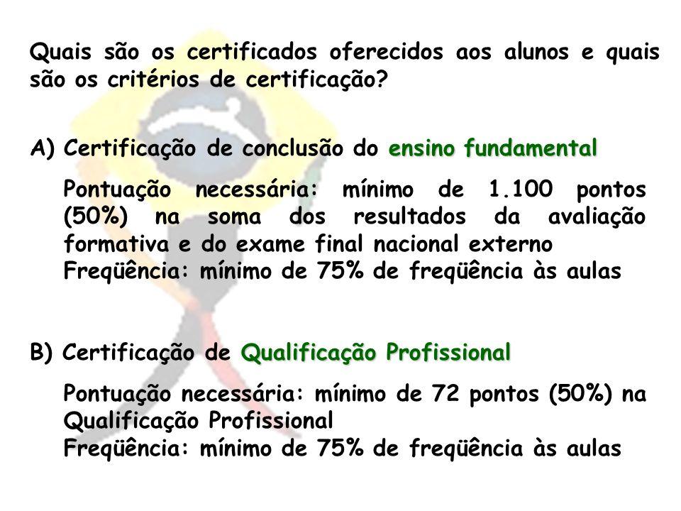 Quais são os certificados oferecidos aos alunos e quais são os critérios de certificação