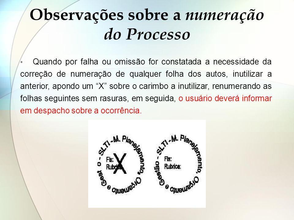 Observações sobre a numeração do Processo