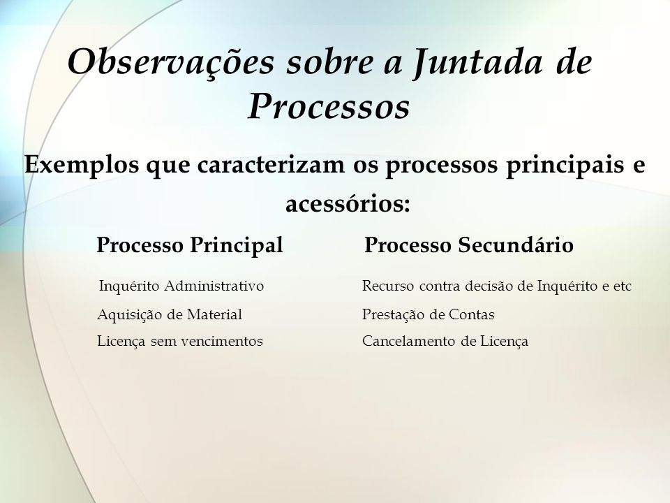 Observações sobre a Juntada de Processos