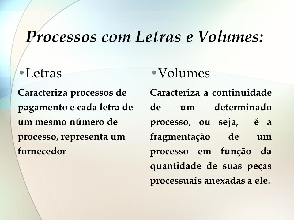 Processos com Letras e Volumes: