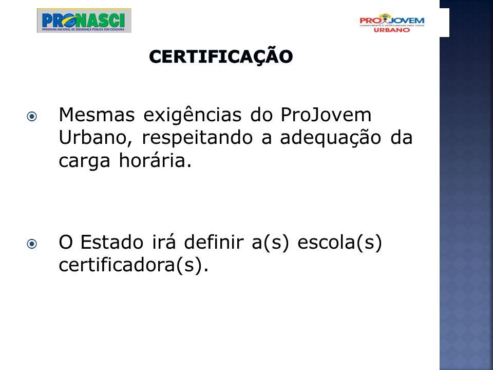 O Estado irá definir a(s) escola(s) certificadora(s).
