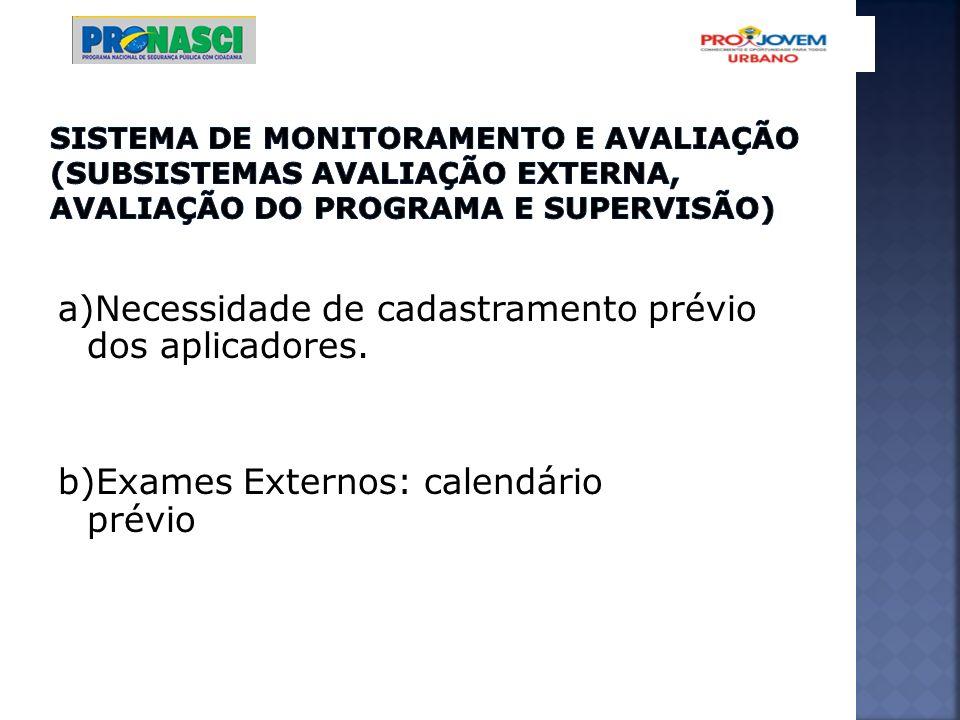 Sistema de Monitoramento e Avaliação (Subsistemas Avaliação Externa, Avaliação do Programa e Supervisão)
