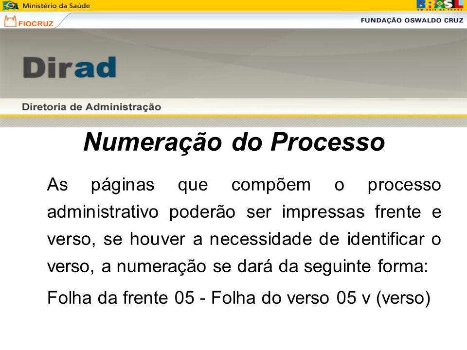 Numeração do Processo