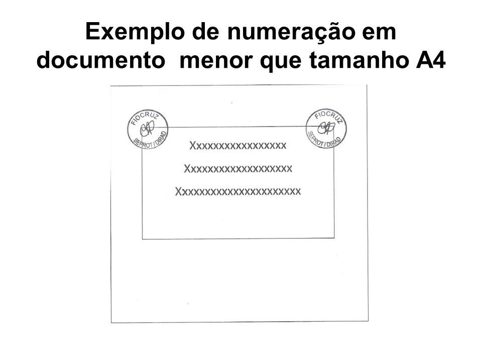 Exemplo de numeração em documento menor que tamanho A4