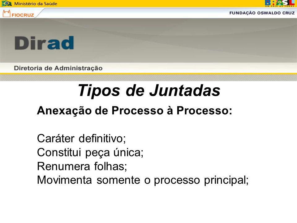 Tipos de Juntadas Anexação de Processo à Processo: Caráter definitivo;