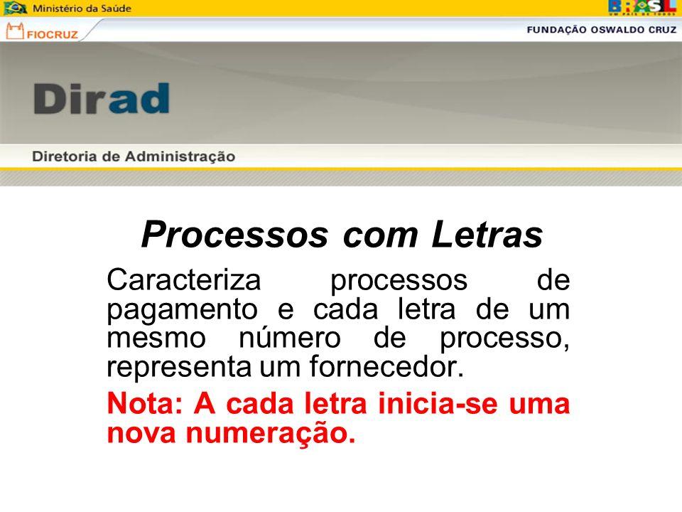 Processos com Letras Caracteriza processos de pagamento e cada letra de um mesmo número de processo, representa um fornecedor.
