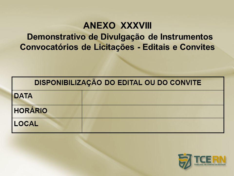 DISPONIBILIZAÇÃO DO EDITAL OU DO CONVITE