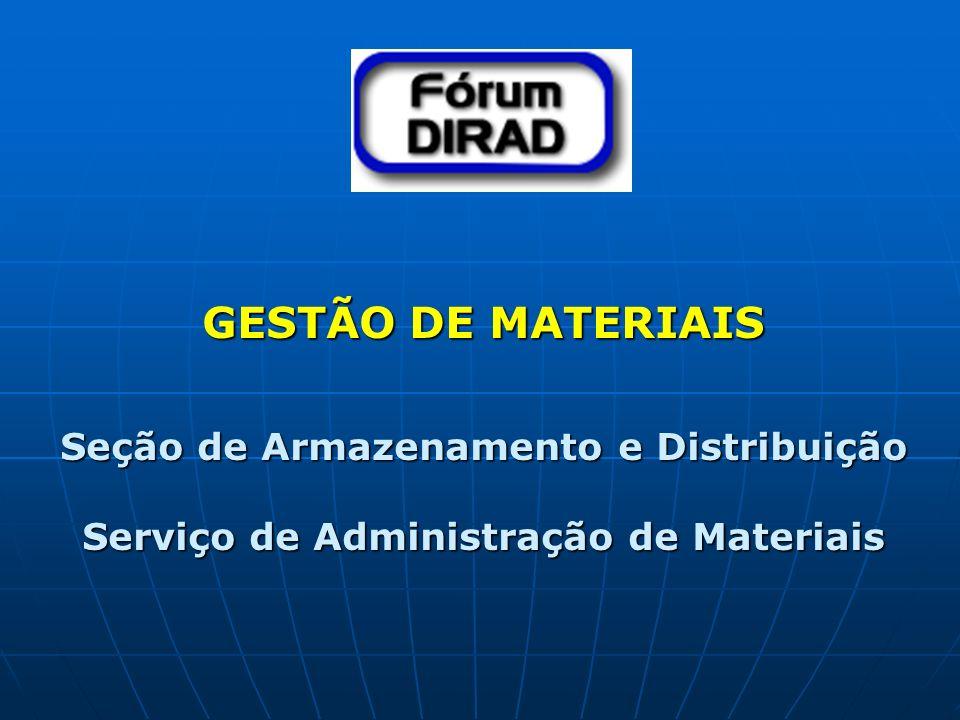 GESTÃO DE MATERIAIS Seção de Armazenamento e Distribuição