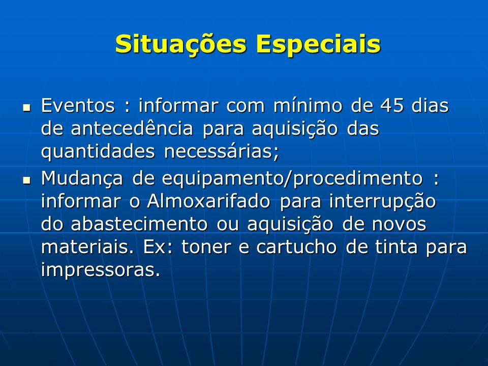 Situações Especiais Eventos : informar com mínimo de 45 dias de antecedência para aquisição das quantidades necessárias;