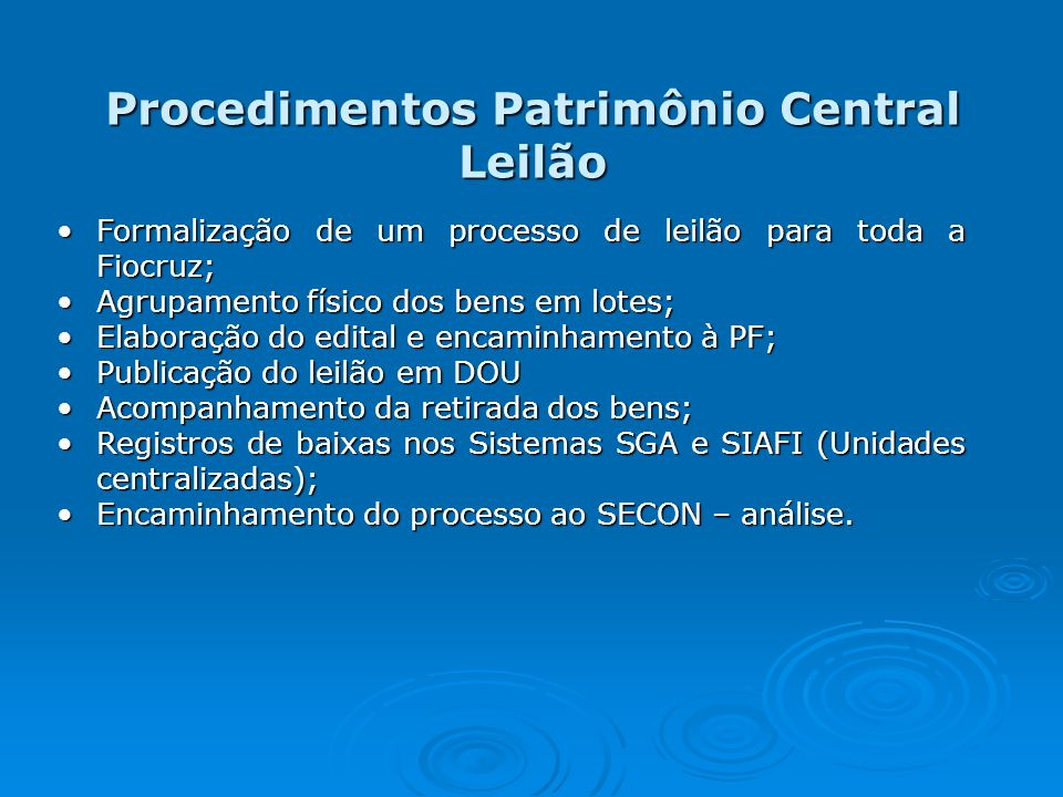 Procedimentos Patrimônio Central Leilão