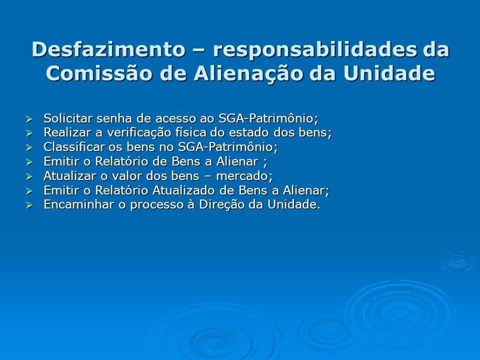 Desfazimento – responsabilidades da Comissão de Alienação da Unidade