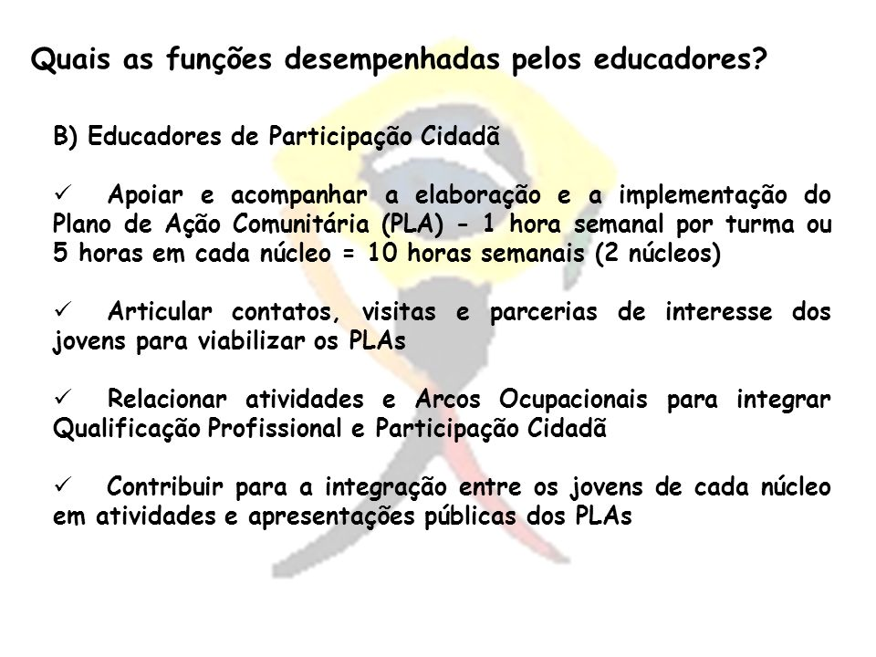 Quais as funções desempenhadas pelos educadores