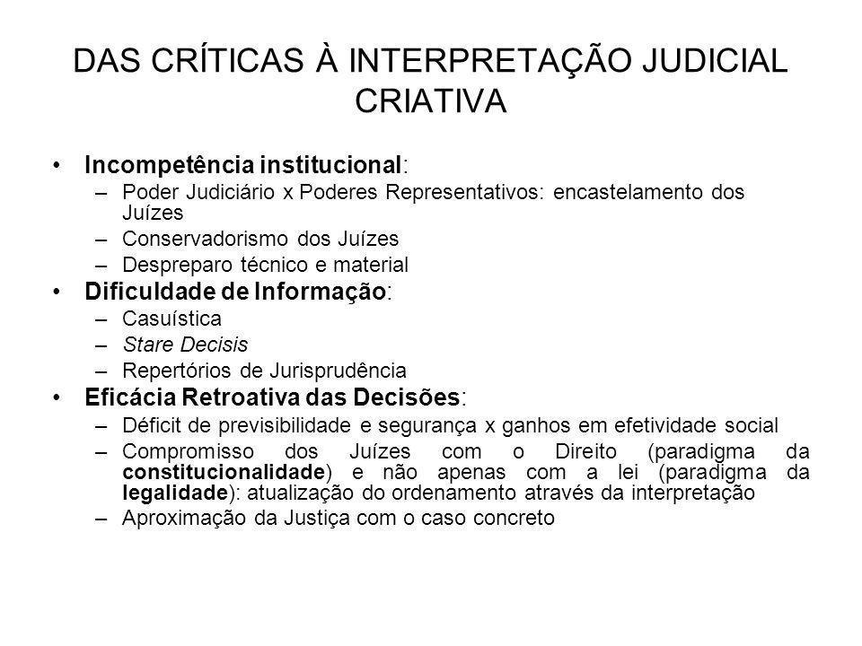 DAS CRÍTICAS À INTERPRETAÇÃO JUDICIAL CRIATIVA