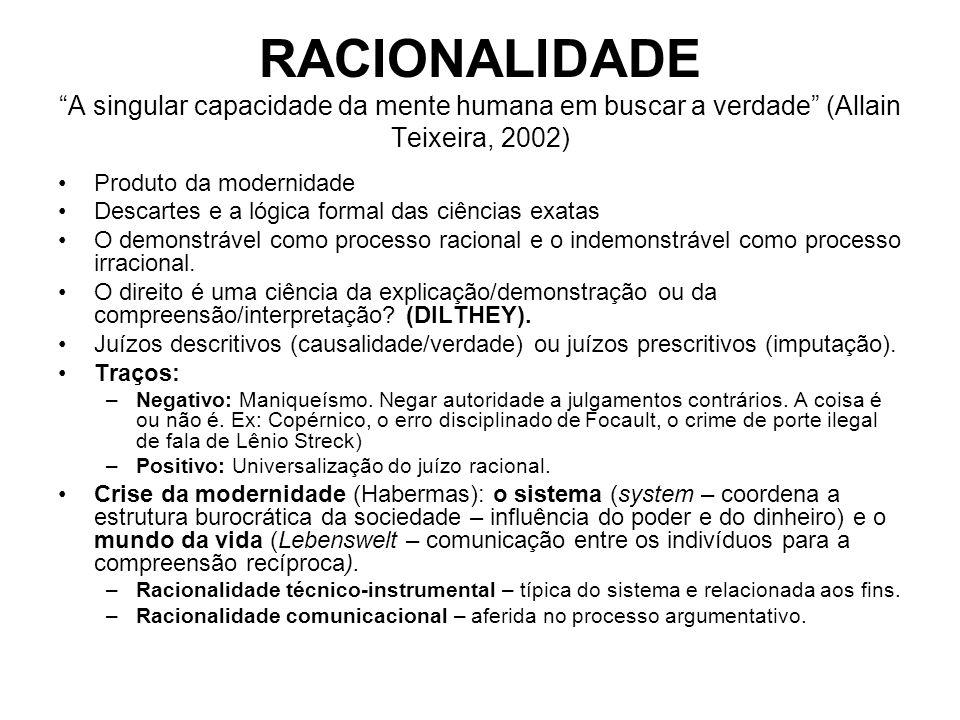 RACIONALIDADE A singular capacidade da mente humana em buscar a verdade (Allain Teixeira, 2002)