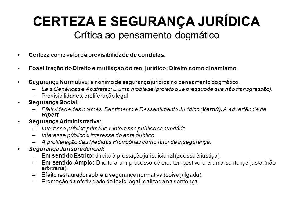 CERTEZA E SEGURANÇA JURÍDICA Crítica ao pensamento dogmático