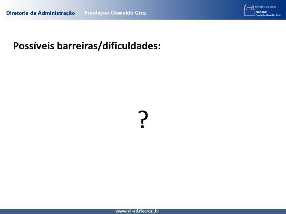 Possíveis barreiras/dificuldades: