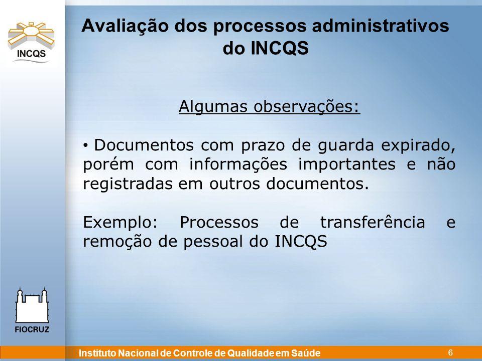 Avaliação dos processos administrativos do INCQS