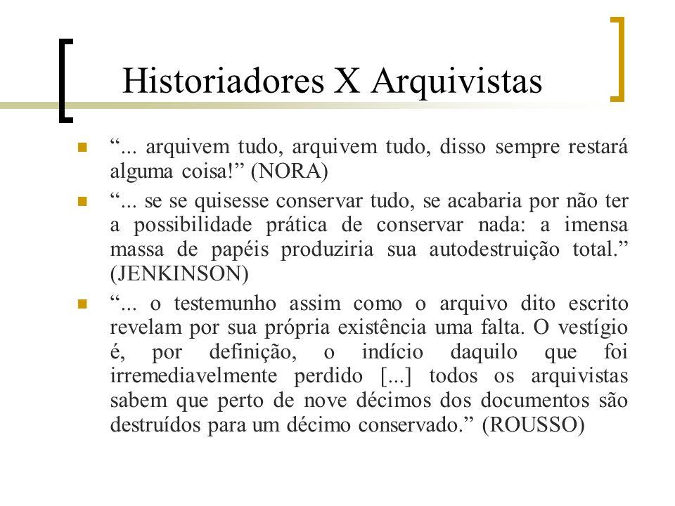 Historiadores X Arquivistas