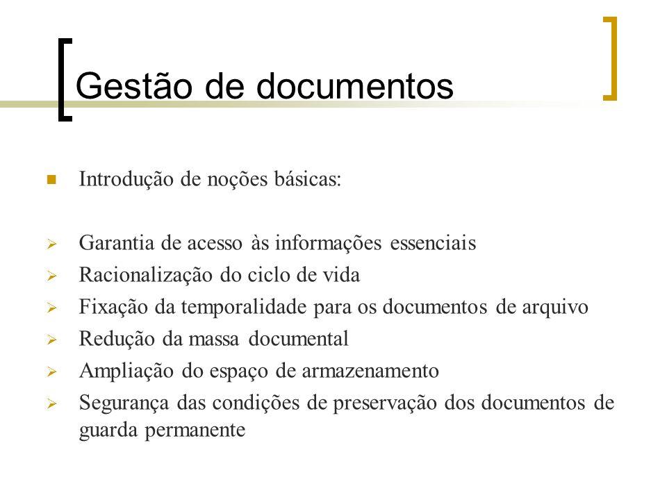 Gestão de documentos Introdução de noções básicas: