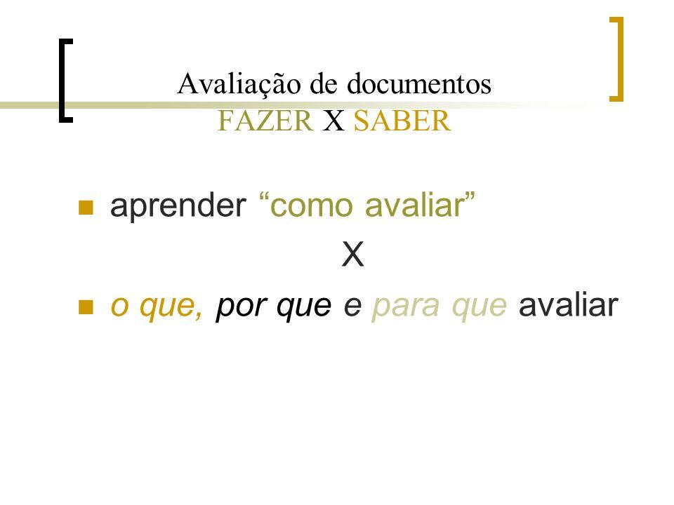 Avaliação de documentos FAZER X SABER
