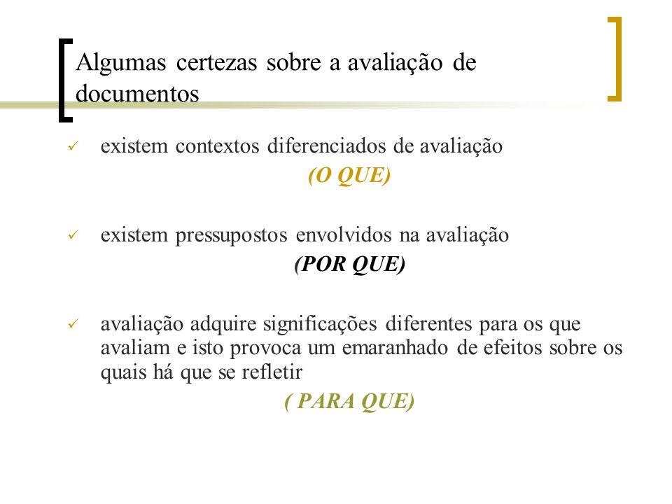 Algumas certezas sobre a avaliação de documentos