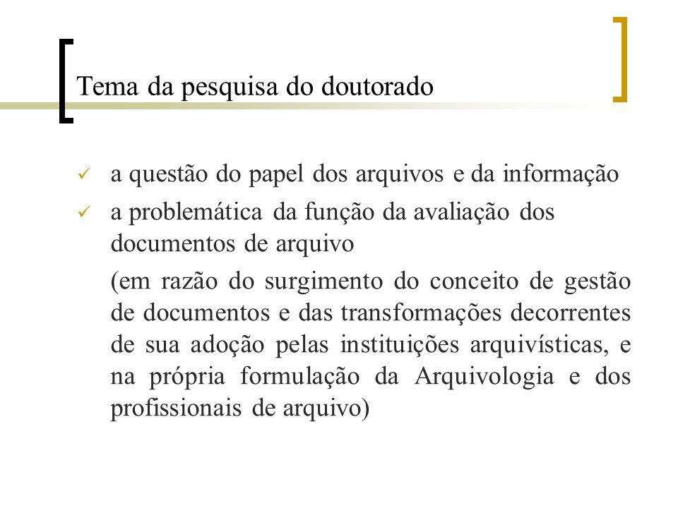 Tema da pesquisa do doutorado