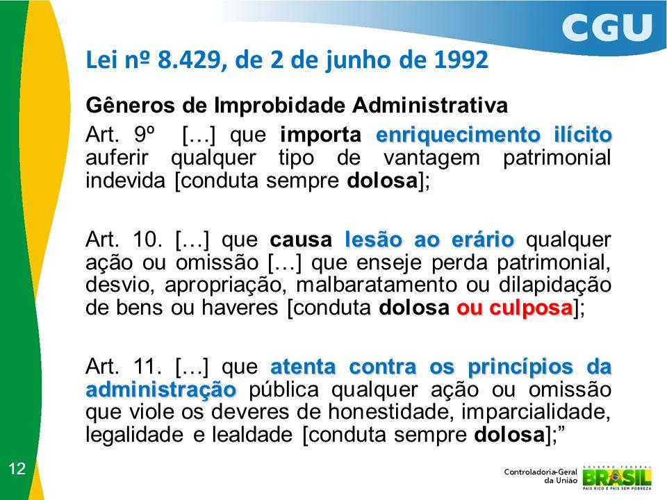 Lei nº 8.429, de 2 de junho de 1992 Gêneros de Improbidade Administrativa.