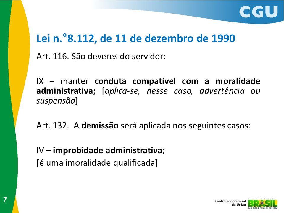 Lei n.°8.112, de 11 de dezembro de 1990 Art. 116. São deveres do servidor: