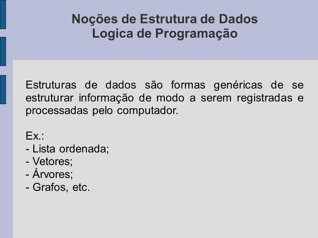 Noções de Estrutura de Dados Logica de Programação
