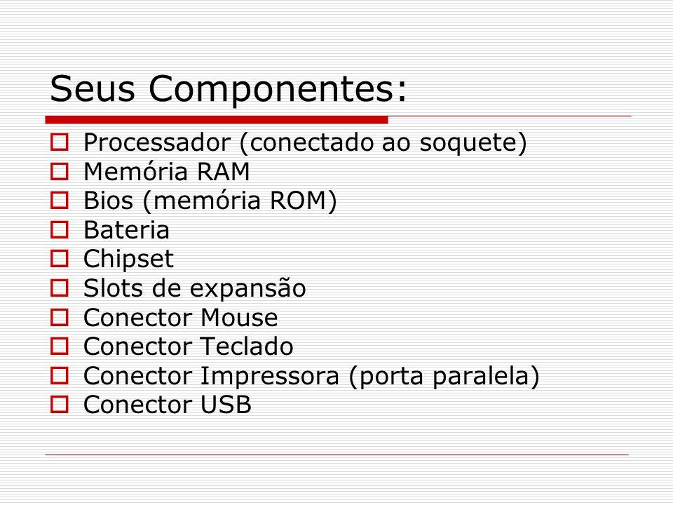 Seus Componentes: Processador (conectado ao soquete) Memória RAM