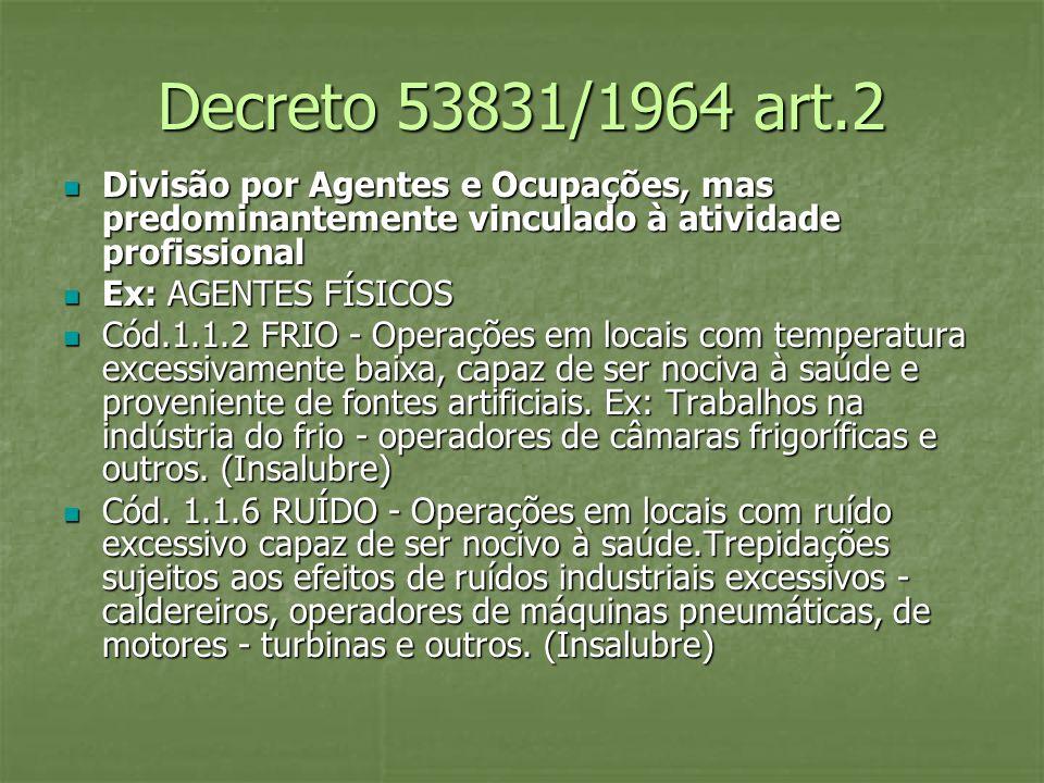 Decreto 53831/1964 art.2 Divisão por Agentes e Ocupações, mas predominantemente vinculado à atividade profissional.